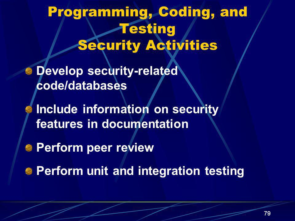 79 Programming, Coding, and Testing Security Activities Develop security-related code/databases Include information on security features in documentation Perform peer review Perform unit and integration testing