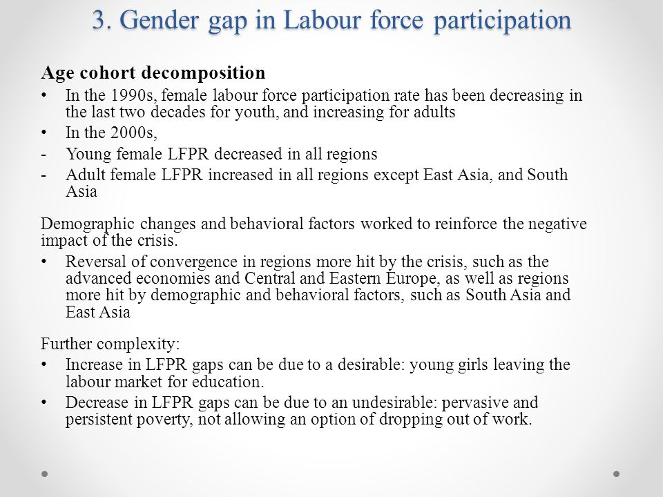 Age cohort decomposition In the 1990s, female labour force participation rate has been decreasing in the last two decades for youth, and increasing for adults In the 2000s, -Young female LFPR decreased in all regions -Adult female LFPR increased in all regions except East Asia, and South Asia Demographic changes and behavioral factors worked to reinforce the negative impact of the crisis.