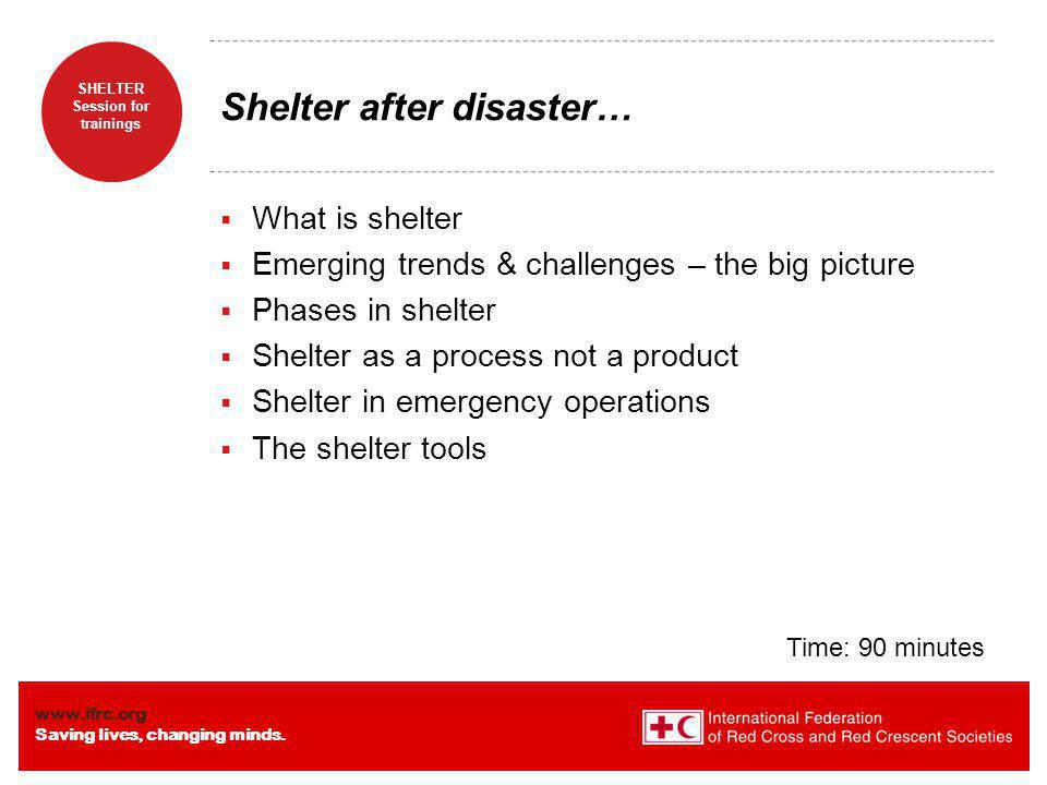 www.ifrc.org Saving lives, changing minds. SHELTER Session for trainings Defining shelter …