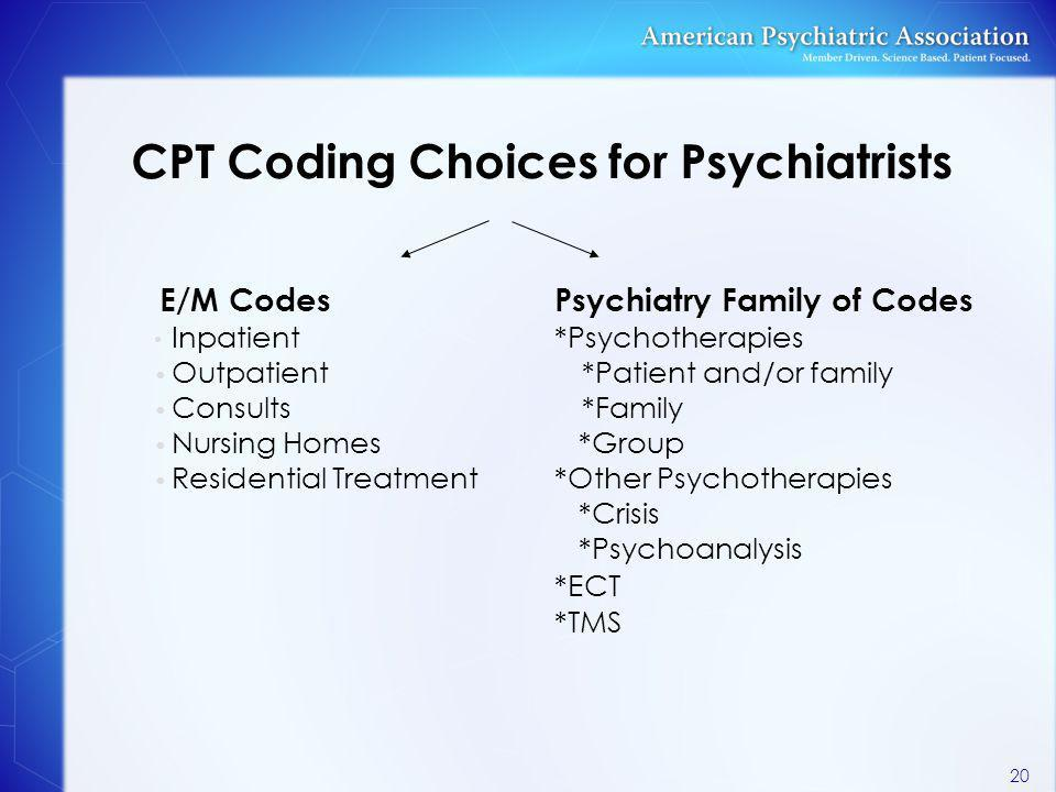 CPT Coding Choices for Psychiatrists E/M CodesPsychiatry Family of Codes Inpatient*Psychotherapies Outpatient*Patient and/or family Consults*Family Nu
