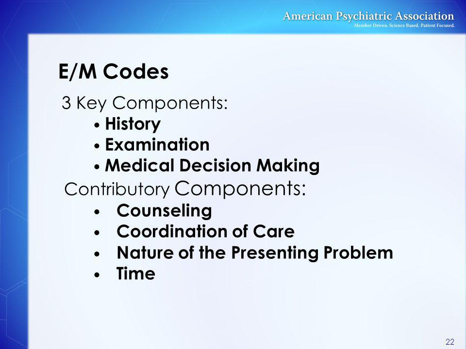 E/M Codes 3 Key Components: History Examination Medical Decision Making Contributory Components: Counseling Coordination of Care Nature of the Present