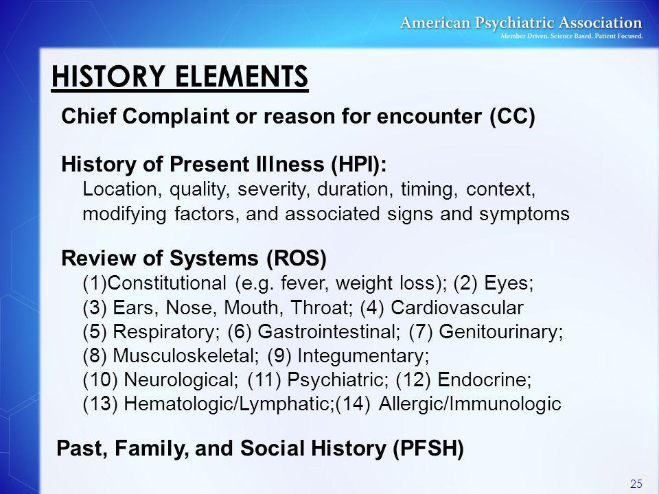 HISTORY ELEMENTS Chief Complaint or reason for encounter (CC) History of Present Illness (HPI): Location, quality, severity, duration, timing, context