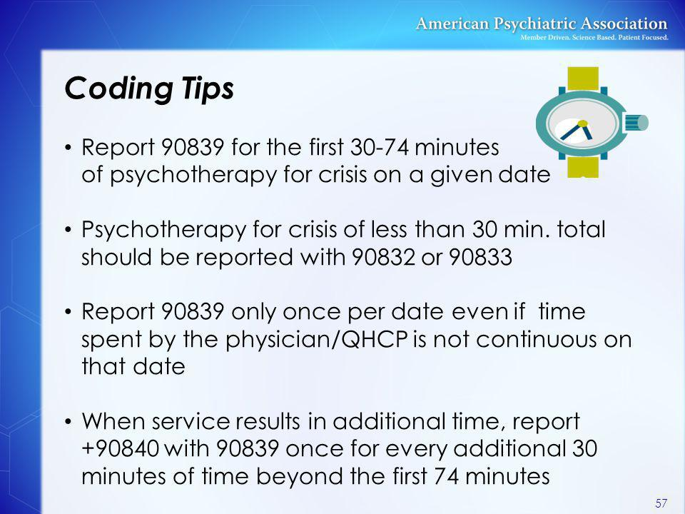 Coding Tips Report 90839 for the first 30-74 minutes of psychotherapy for crisis on a given date Psychotherapy for crisis of less than 30 min. total s