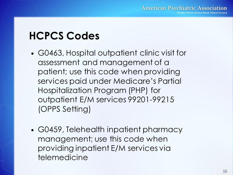 HCPCS Codes G0463, Hospital outpatient clinic visit for assessment and management of a patient; use this code when providing services paid under Medic
