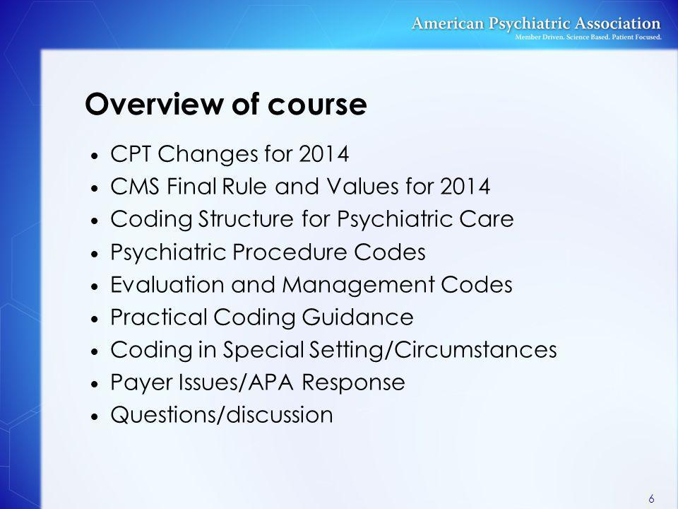 Overview of course CPT Changes for 2014 CMS Final Rule and Values for 2014 Coding Structure for Psychiatric Care Psychiatric Procedure Codes Evaluatio