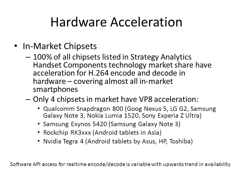 Hardware Acceleration In-Market Chipsets – 100% of all chipsets listed in Strategy Analytics Handset Components technology market share have acceleration for H.264 encode and decode in hardware – covering almost all in-market smartphones – Only 4 chipsets in market have VP8 acceleration: Qualcomm Snapdragon 800 (Goog Nexus 5, LG G2, Samsung Galaxy Note 3, Nokia Lumia 1520, Sony Experia Z Ultra) Samsung Exynos 5420 (Samsung Galaxy Note 3) Rockchip RK3xxx (Android tablets in Asia) Nvidia Tegra 4 (Android tablets by Asus, HP, Toshiba) Software API access for realtime encode/decode is variable with upwards trend in availability
