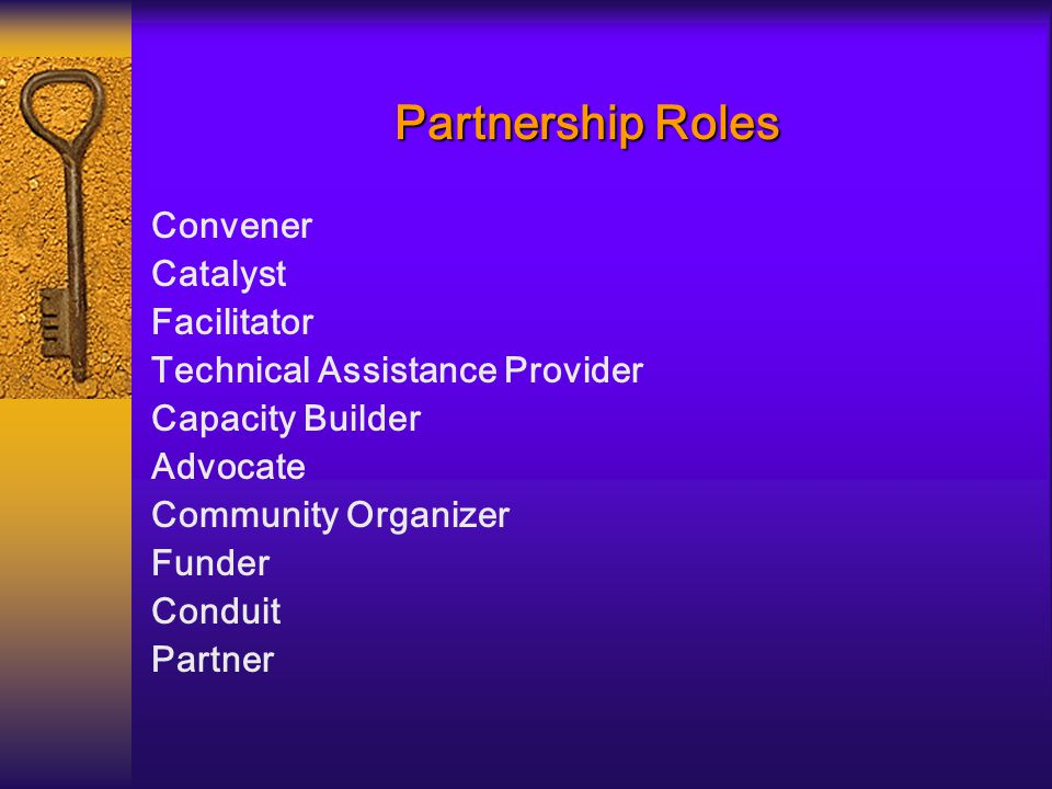 Partnership Roles Convener Catalyst Facilitator Technical Assistance Provider Capacity Builder Advocate Community Organizer Funder Conduit Partner