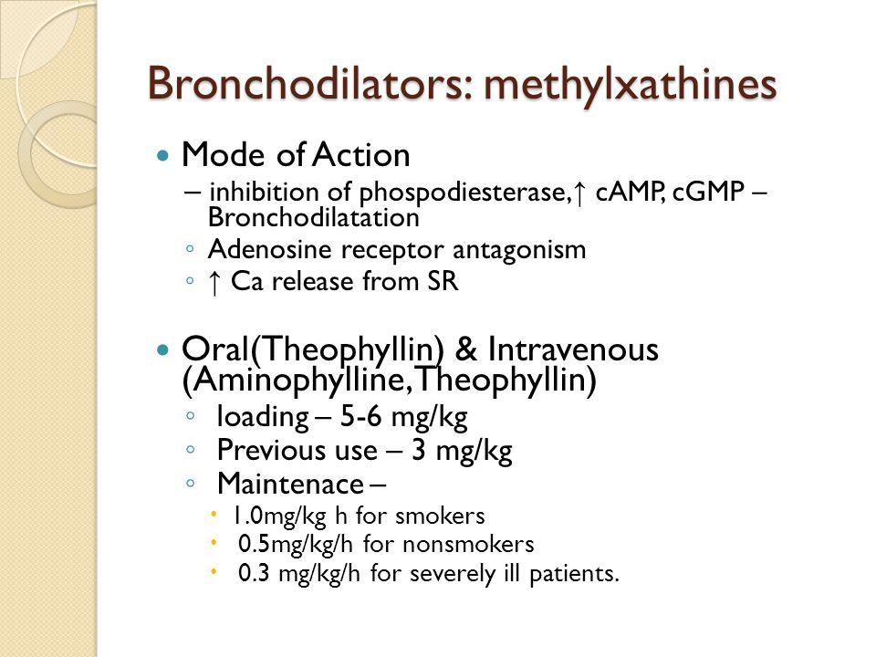 Bronchodilators: methylxathines Mode of Action – inhibition of phospodiesterase, ↑ cAMP, cGMP – Bronchodilatation ◦ Adenosine receptor antagonism ◦ ↑