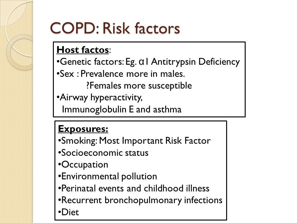 COPD: Risk factors Host factos: Genetic factors: Eg. α 1 Antitrypsin Deficiency Sex : Prevalence more in males. ?Females more susceptible Airway hyper