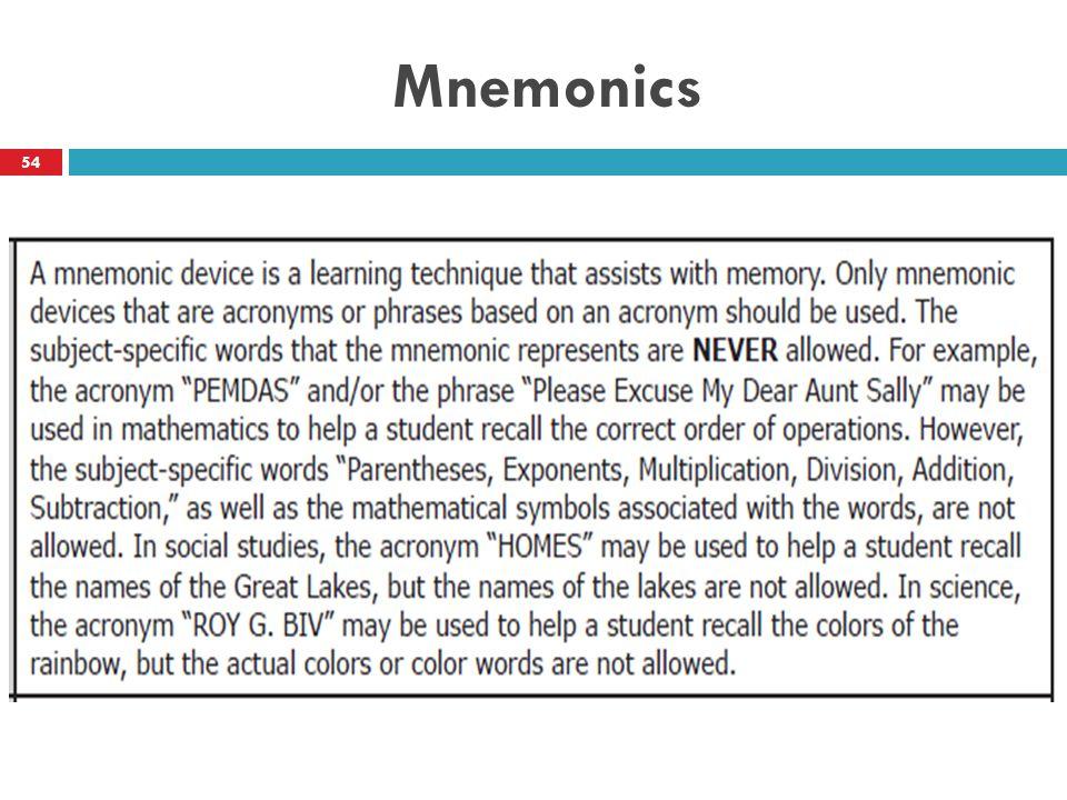 Mnemonics 54