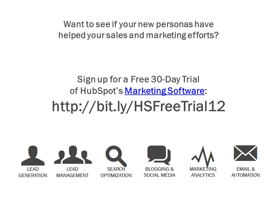 Sign up for a Free 30-Day Trial of HubSpot's Marketing Software: http://bit.ly/HSFreeTrial12Marketing Software Want to see if your new personas have h