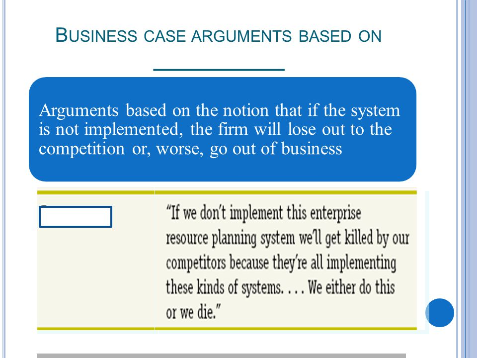 B USINESS CASE ARGUMENTS BASED ON ___________ Arguments based on the notion that if the system is not implemented, the firm will lose out to the competition or, worse, go out of business