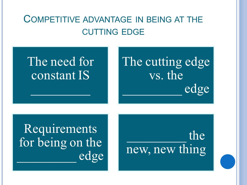 C OMPETITIVE ADVANTAGE IN BEING AT THE CUTTING EDGE The need for constant IS _________ The cutting edge vs.