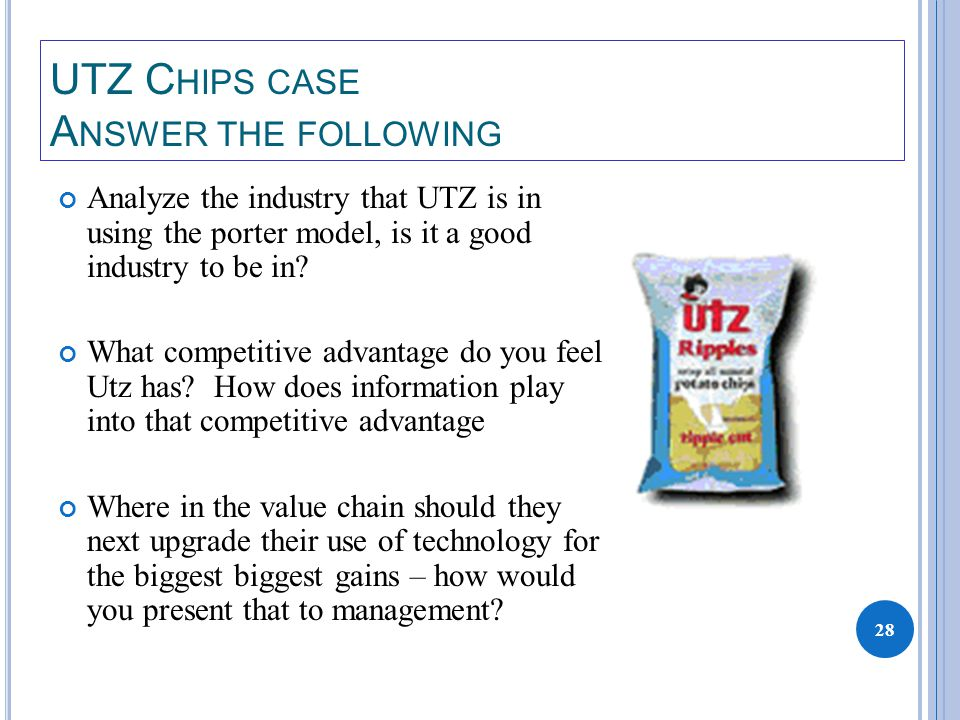 28 UTZ C HIPS CASE A NSWER THE FOLLOWING Analyze the industry that UTZ is in using the porter model, is it a good industry to be in.