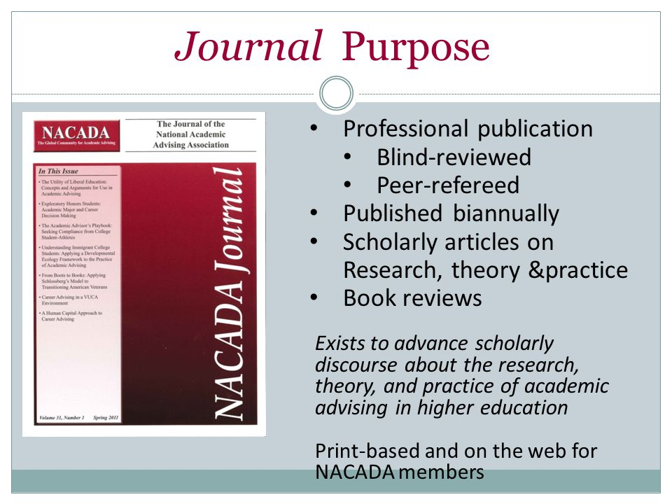 Professional publication Blind-reviewed Peer-refereed Published biannually Scholarly articles on Research, theory &practice Book reviews Exists to advance scholarly discourse about the research, theory, and practice of academic advising in higher education Print-based and on the web for NACADA members Journal Purpose