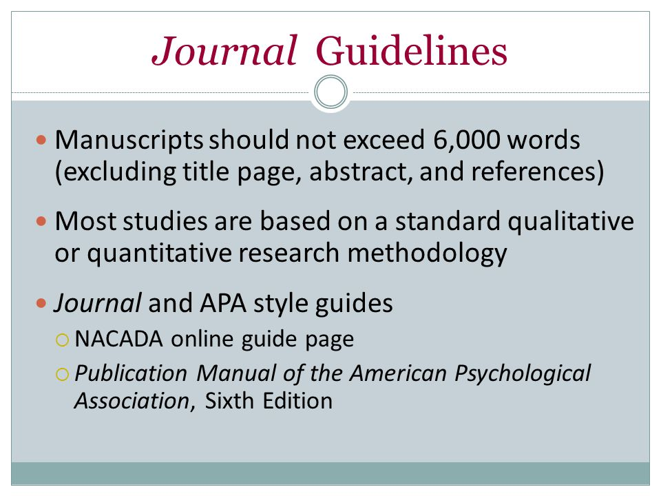 AAT Guidelines Write in the 3rd person (advisors should…) or 1st person (we should…)  2nd person (you should…) will not be accepted Use the Publication Manual of the American Psychological Association, 6th edition for citation guidelines Commercial messages and promotions are not accepted; submissions must be both product- and vendor-neutral Articles printed elsewhere cannot be reprinted in AAT without written permission from the original publication