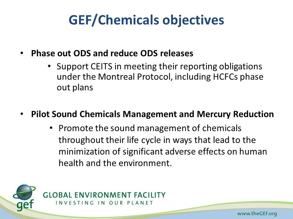 GEF/Chemicals objectives Phase out ODS and reduce ODS releases Support CEITS in meeting their reporting obligations under the Montreal Protocol, including HCFCs phase out plans Pilot Sound Chemicals Management and Mercury Reduction Promote the sound management of chemicals throughout their life cycle in ways that lead to the minimization of significant adverse effects on human health and the environment.