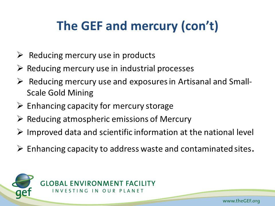 The GEF and mercury (con't)  Reducing mercury use in products  Reducing mercury use in industrial processes  Reducing mercury use and exposures in Artisanal and Small- Scale Gold Mining  Enhancing capacity for mercury storage  Reducing atmospheric emissions of Mercury  Improved data and scientific information at the national level  Enhancing capacity to address waste and contaminated sites.