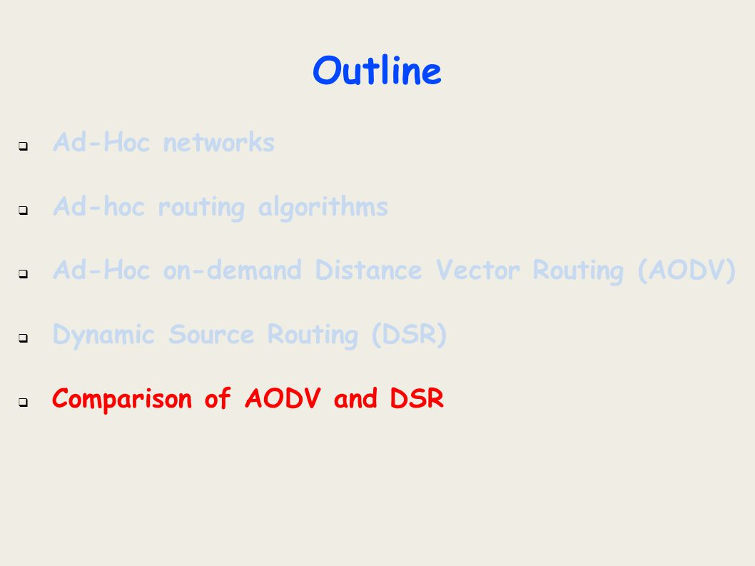 Outline  Ad-Hoc networks  Ad-hoc routing algorithms  Ad-Hoc on-demand Distance Vector Routing (AODV)  Dynamic Source Routing (DSR)  Comparison of