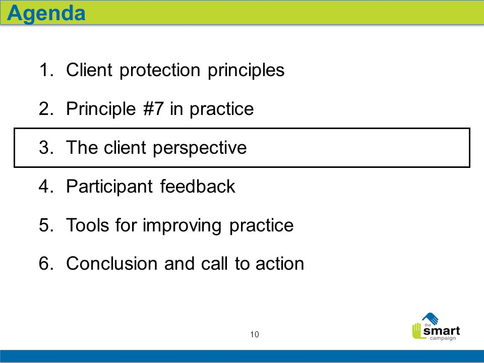 10 1.Client protection principles 2.Principle #7 in practice 3.The client perspective 4.Participant feedback 5.Tools for improving practice 6.Conclusion and call to action Agenda