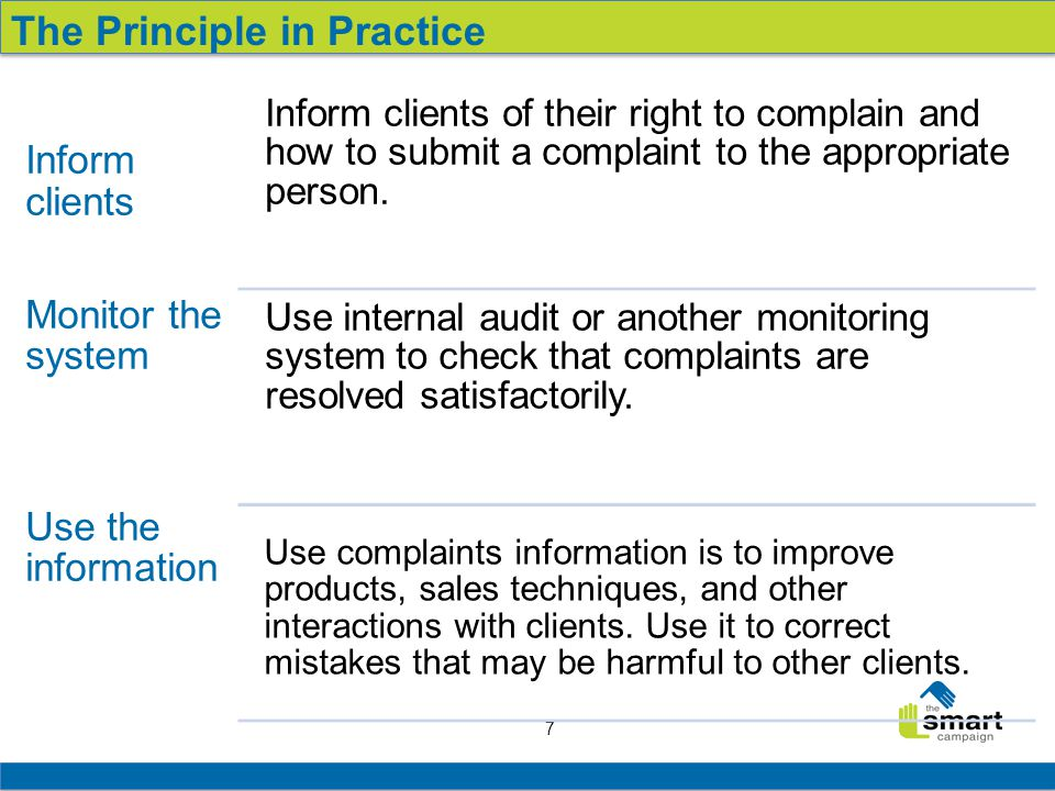 7 Inform clients Monitor the system Use the information Inform clients of their right to complain and how to submit a complaint to the appropriate person.