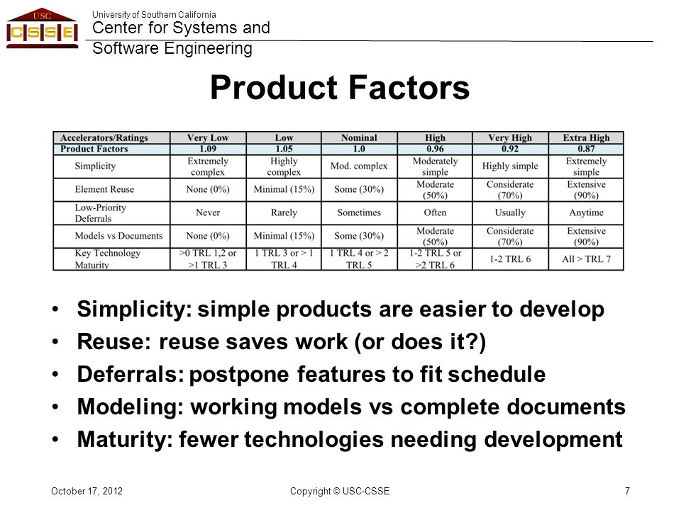 University of Southern California Center for Systems and Software Engineering Product Factors Simplicity: simple products are easier to develop Reuse: reuse saves work (or does it ) Deferrals: postpone features to fit schedule Modeling: working models vs complete documents Maturity: fewer technologies needing development October 17, 2012Copyright © USC-CSSE7