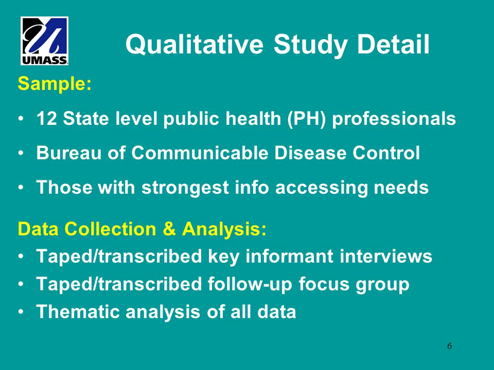 6 Qualitative Study Detail Sample: 12 State level public health (PH) professionals Bureau of Communicable Disease Control Those with strongest info ac