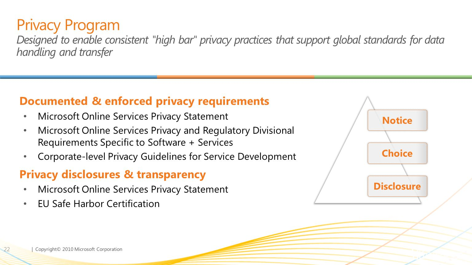 | Copyright© 2010 Microsoft Corporation Privacy Program Designed to enable consistent