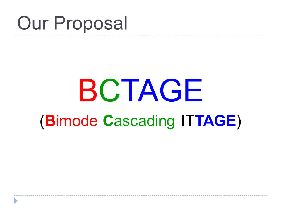 Our Proposal BCTAGE (Bimode Cascading ITTAGE)