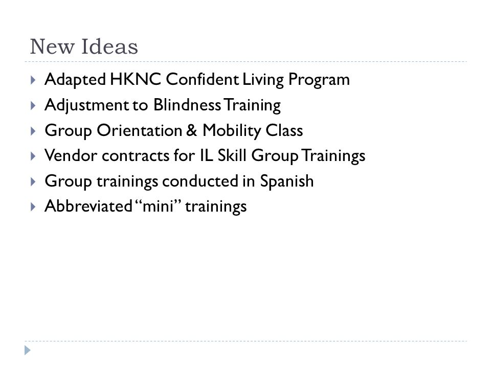 New Ideas  Adapted HKNC Confident Living Program  Adjustment to Blindness Training  Group Orientation & Mobility Class  Vendor contracts for IL Sk