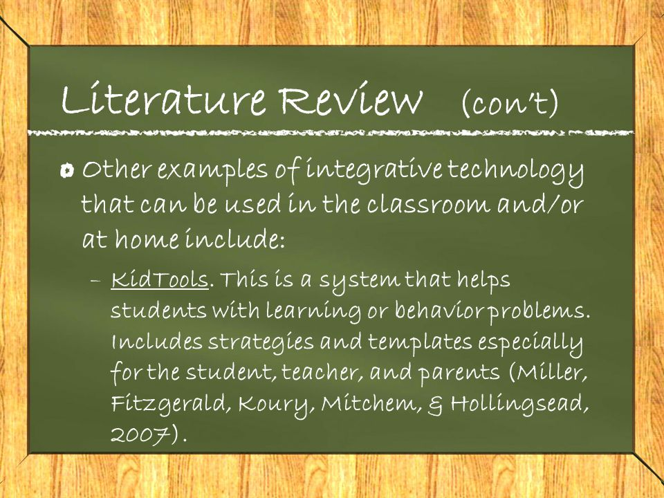 Literature Review (con't) –Computer based reading and spelling.