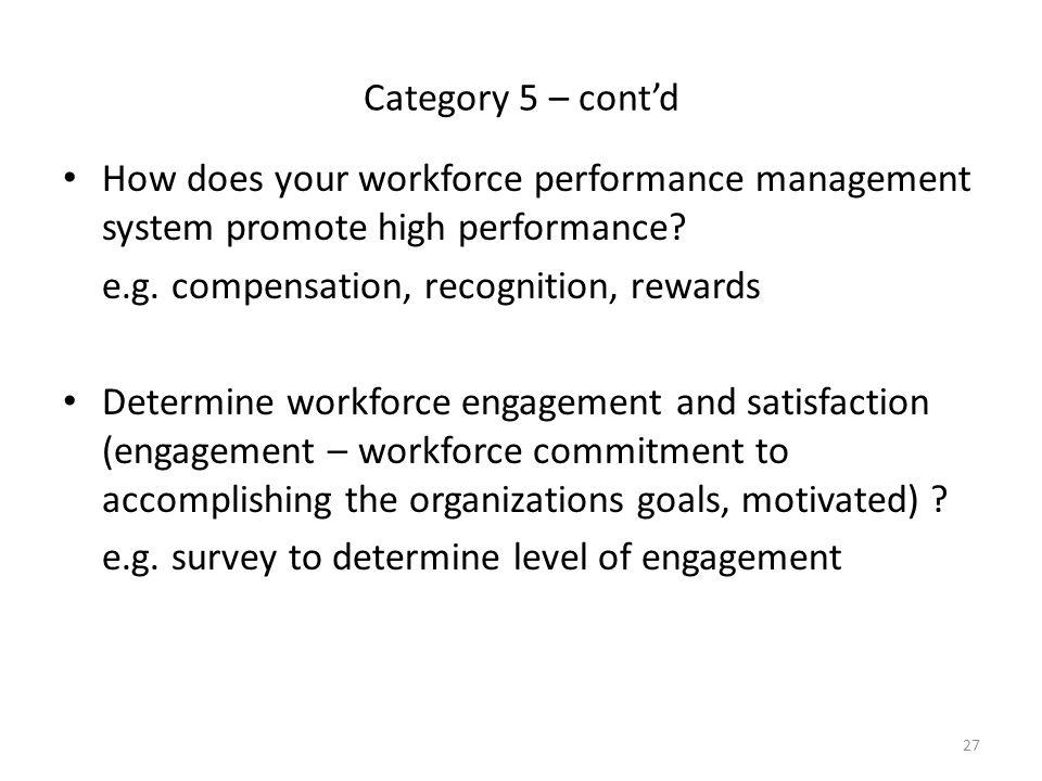 27 Category 5 – cont'd How does your workforce performance management system promote high performance? e.g. compensation, recognition, rewards Determi