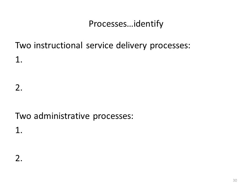 30 Processes…identify Two instructional service delivery processes: 1. 2. Two administrative processes: 1. 2.