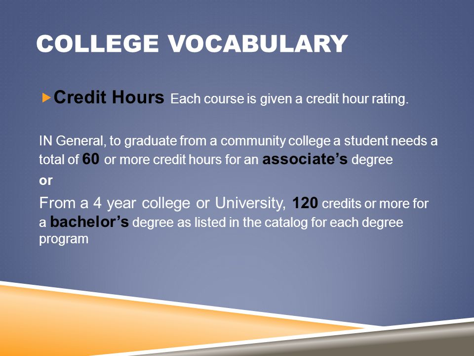 COLLEGE VOCABULARY  Credit Hours Each course is given a credit hour rating. IN General, to graduate from a community college a student needs a total