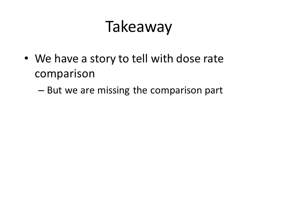 Takeaway We have a story to tell with dose rate comparison – But we are missing the comparison part