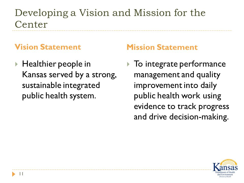Developing a Vision and Mission for the Center Vision Statement Mission Statement 11  Healthier people in Kansas served by a strong, sustainable integrated public health system.