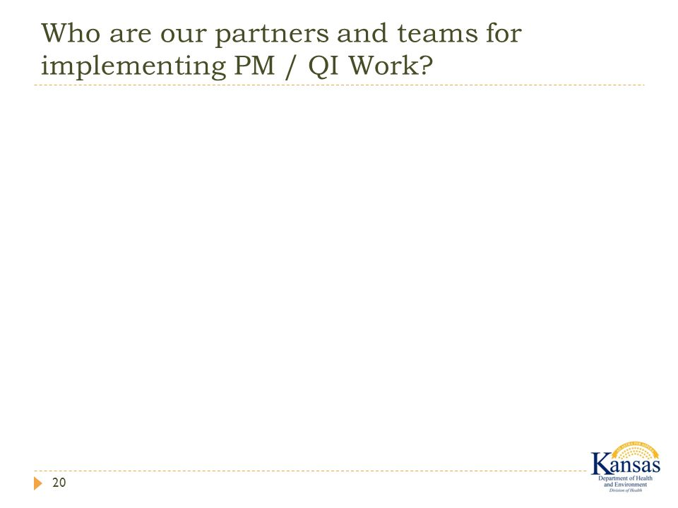 Who are our partners and teams for implementing PM / QI Work? 20