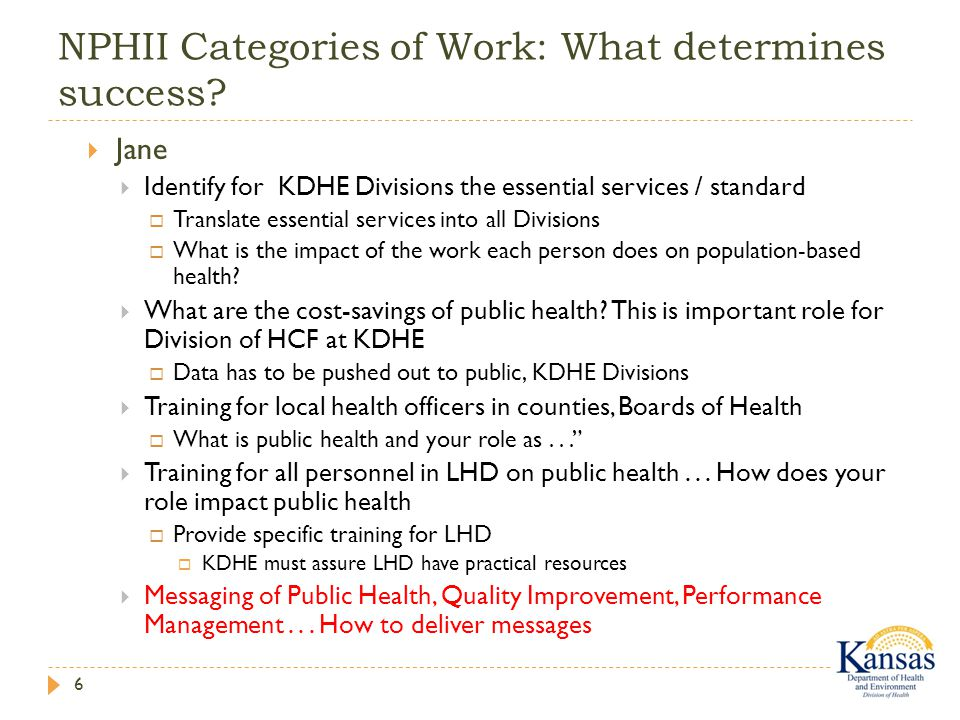 NPHII Categories of Work: What determines success.