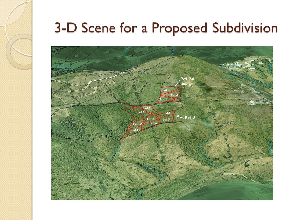 3-D Scene for a Proposed Subdivision