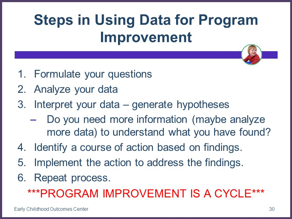 Steps in Using Data for Program Improvement 1.Formulate your questions 2.Analyze your data 3.Interpret your data – generate hypotheses –Do you need more information (maybe analyze more data) to understand what you have found.