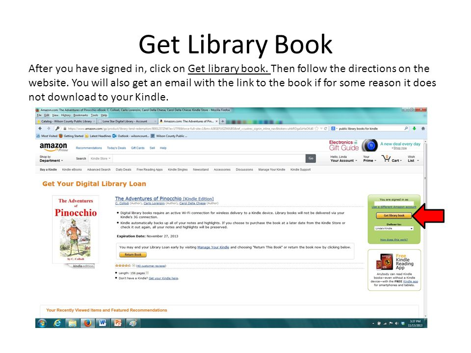 Get Library Book After you have signed in, click on Get library book.