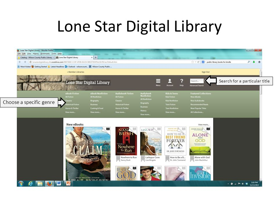 Lone Star Digital Library Search for a particular title Choose a specific genre