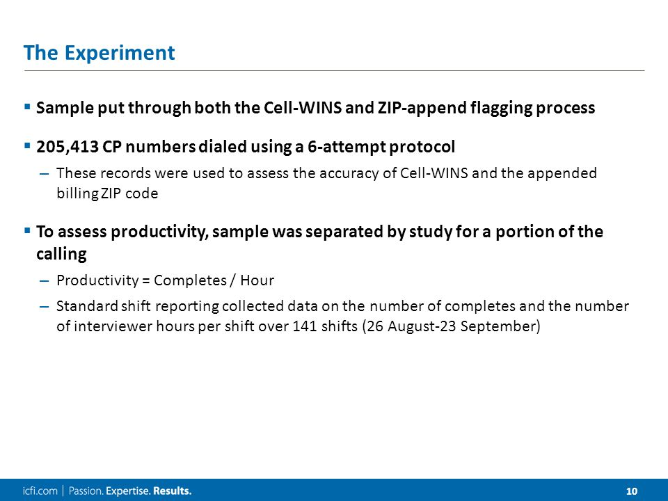 10 The Experiment  Sample put through both the Cell-WINS and ZIP-append flagging process  205,413 CP numbers dialed using a 6-attempt protocol – These records were used to assess the accuracy of Cell-WINS and the appended billing ZIP code  To assess productivity, sample was separated by study for a portion of the calling – Productivity = Completes / Hour – Standard shift reporting collected data on the number of completes and the number of interviewer hours per shift over 141 shifts (26 August-23 September)