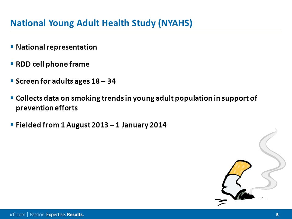 5 National Young Adult Health Study (NYAHS)  National representation  RDD cell phone frame  Screen for adults ages 18 – 34  Collects data on smoki