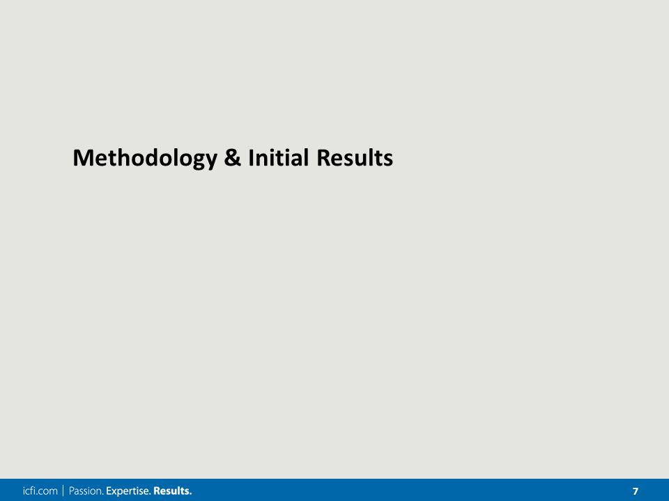 7 Methodology & Initial Results