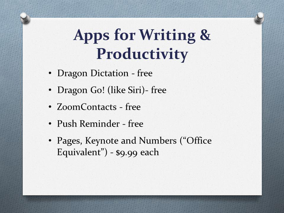 Apps for Writing & Productivity Dragon Dictation - free Dragon Go.