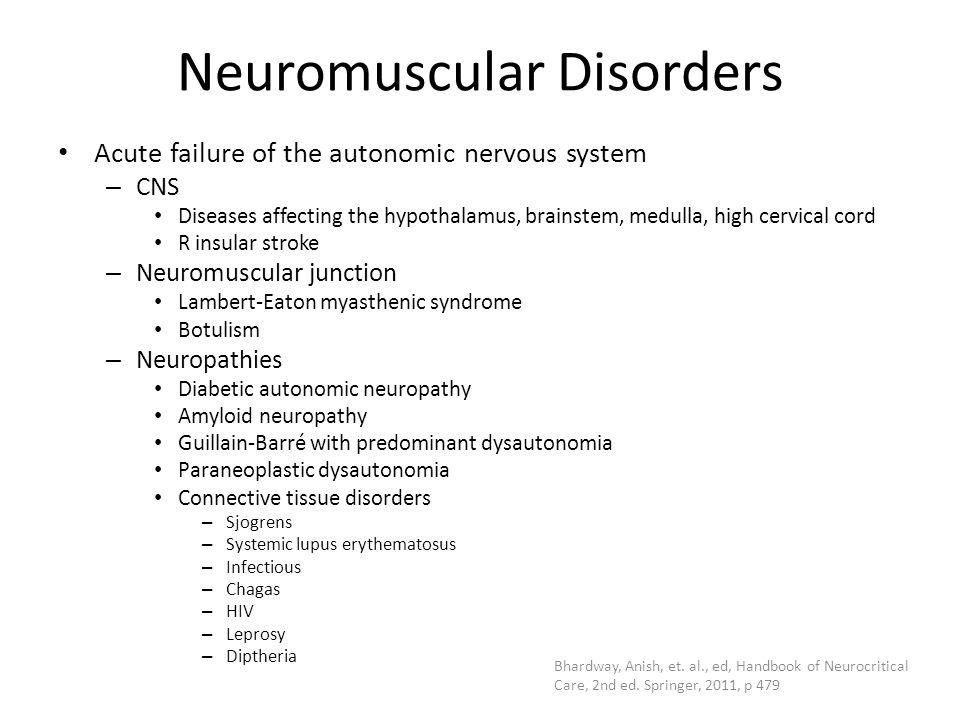 Neuromuscular Disorders Acute failure of the autonomic nervous system – CNS Diseases affecting the hypothalamus, brainstem, medulla, high cervical cor