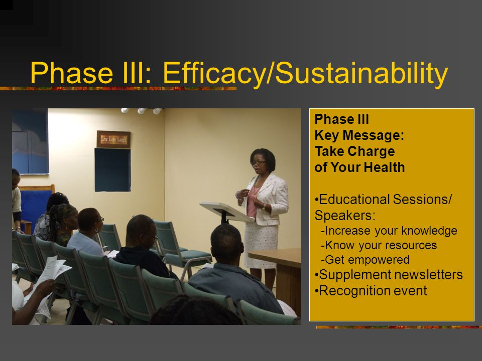 Phase III: Efficacy/Sustainability Phase III Key Message: Take Charge of Your Health Educational Sessions/ Speakers: -Increase your knowledge -Know your resources -Get empowered Supplement newsletters Recognition event