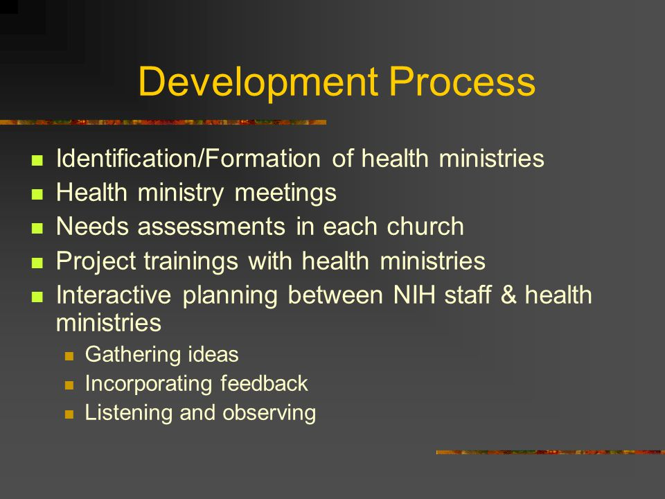 Development Process Identification/Formation of health ministries Health ministry meetings Needs assessments in each church Project trainings with health ministries Interactive planning between NIH staff & health ministries Gathering ideas Incorporating feedback Listening and observing