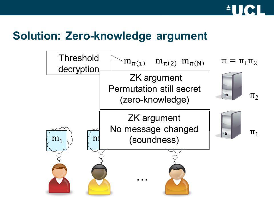 Solution: Zero-knowledge argument … Threshold decryption ZK argument No message changed (soundness) ZK argument Permutation still secret (zero-knowledge)